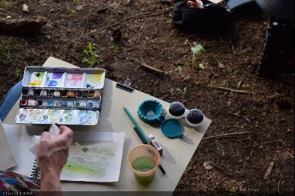 Le paysage, entre dessin et aquarelle