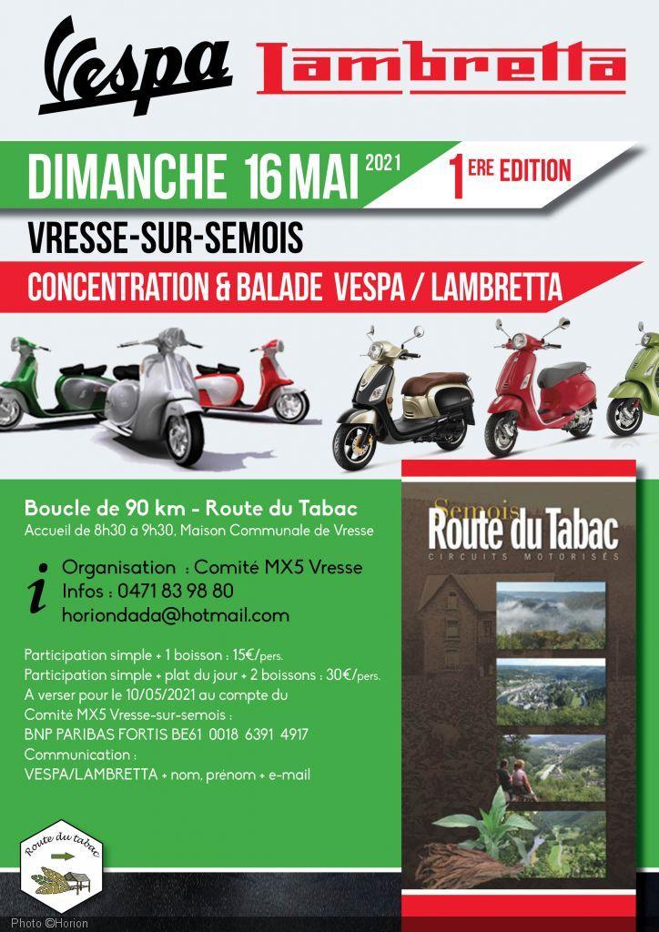 Concentration et balade Vespa et Lambretta.