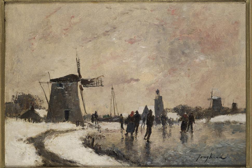 Musée des Beaux Arts et de la Céramique de Verviers - Johan Barthold Jongkind - Les patineurs au soleil couchant