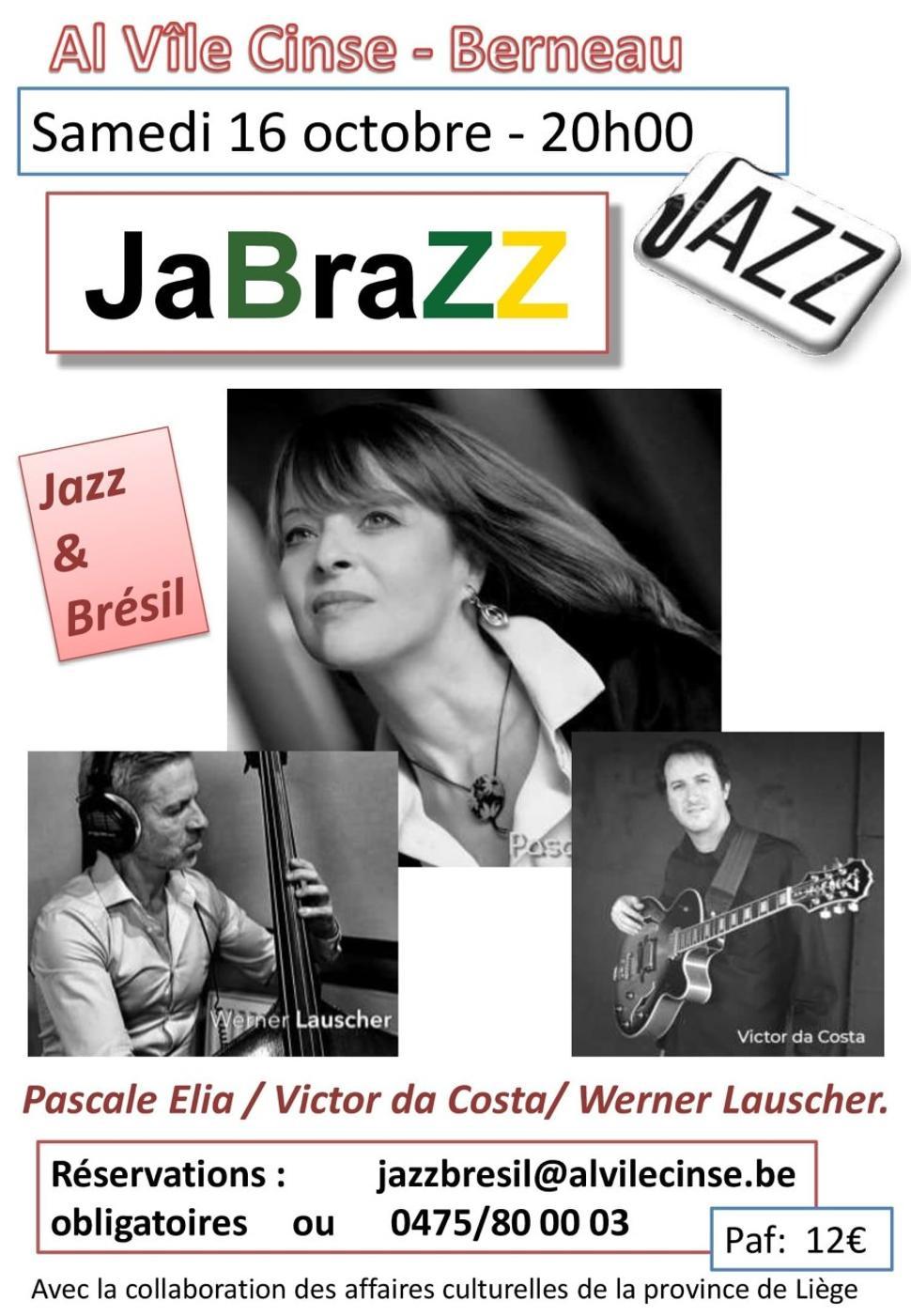 Concert Jabrazz affiche - Jazz et Brésil ©Al Vîle Cinse 09-2021